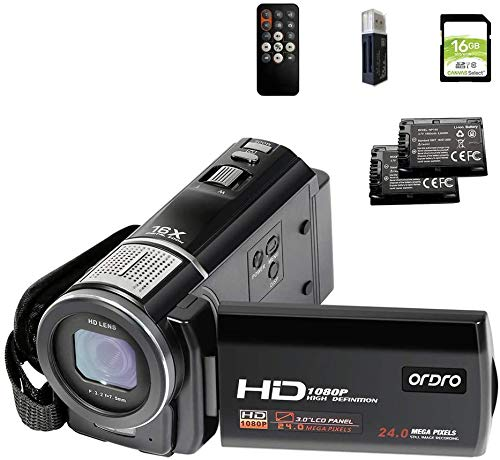 ORDRO HDV-F5 Video Camera FHD 1080P 30FPS Camcorder with 16GB SD Card Digital YouTube Vlogging Camera Recorder 24MP 3.0 Inch 270 Degree Rotation LCD 16X Digital Zoom Camcorder, 2 Batteries