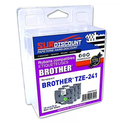Lote de 3 cintas compatibles con Brother TZE-241 (18 mm/8 m, plástico negro sobre blanco)