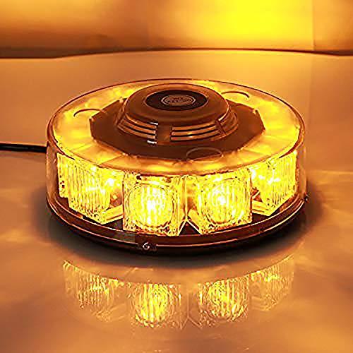 Voiture Strobe Feux d'avertissement Maso 10 COB LED 12 V 7 modes de clignotant Ambre d'Urgence avertissement lumière stroboscopique avec base magnétique pour voiture véhicule Camion Remorque