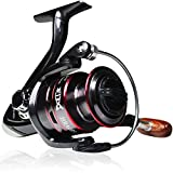 TIMIVO Fishing Reels Spinning with Wood Handle, Powerful Metal Body 5.2:1/5.1:1 Gear Ratio Smooth 12 BB for Inshore Boat Rock Freshwater Saltwater Fishing / Ice Fishing (HB4000)