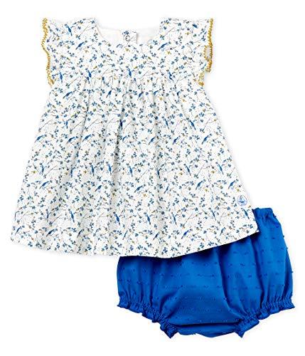 Petit Bateau Baby - Mädchen Bekleidungsset Robe SM + Bloomer_4616101, Mehrfarbig (Marshmallow/Multico 01), 68 (Herstellergröße: 6M/67cm)