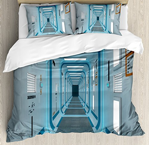 Ambesonne Outer Space Duvet Cover Set, Galactic Hallway with Caution Signs Discovery Explore Invasion Print Artwork, Decorative 3 Piece Bedding Set with 2 Pillow Shams, King Size, Blue White