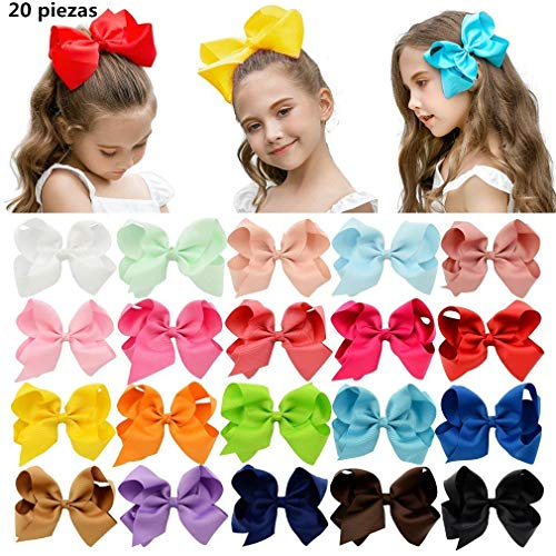 PUBAMALL Multicolor Grosgrain Ribbon Boutique Hair Bows Pinzas de cocodrilo para niñas bebés Adolescentes Niños pequeños (20 piezas 6')