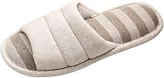 Fankle Women's Mens Unisex Washable Cotton Open-Toe Home Slippers Indoor Shoes Comfy Velvet Lined Memory Foam Indoor Shoes(Gray,42/43)