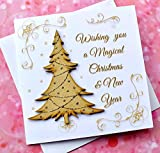 Handmade Christmas Card with Rustic Wooden Sparkly Tree - Wishing you a Magical Luxury Xmas Cards