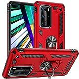 Fetrim Huawei P40 PRO Hülle, doppellagig stoßfest Schutzhülle mit Drehring Ständer für Huawei P40 PRO rot
