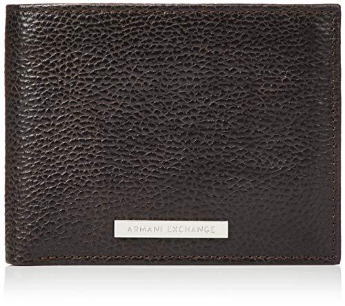 ARMANI EXCHANGE Trifold Credit Card Holder, Portafogli per carte Uomo, Marrone (Dark Brown), 9.4x2.5x12 centimeters (B x H x T)