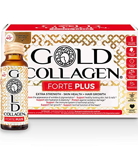 Gold Collagen Forte Plus | The Original #1 Liquid Collagen Anti Aging Beauty Supplement | Marine Collagen Drink with Hyaluronic Acid, Antioxidants, Vitamins & Minerals for Skin, Hair, Nails