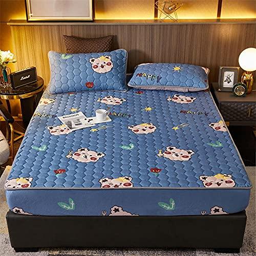 YFGY Bettlaken R&umgummizug 180 * 200 cm, Bedruckte Samt Gesteppte Spannbettlaken mit Kissenbezügen, Matratze Vollbezug Tagesdecke für Kinder Erwachsene Bär 3 STÜCKE