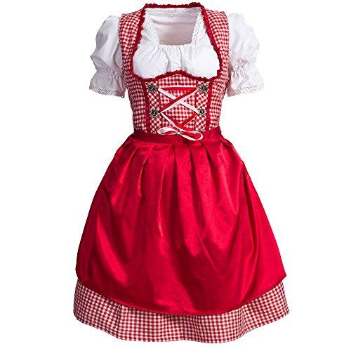 Mufimex Damen Dirndl Kleid Dirndlkleid Trachtenkleid Midi Kariert Rot 44