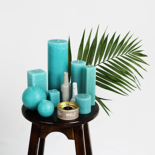 "3"" x 6"" Turquoise/Teal Unscented Pillar Candles Set of 3 Fragrance-Free for Weddings, Decoration, Restaurant, Spa, Smokeless Cotton Wick"