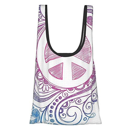 Groovy Decorations Classic Hand Drawn Style Peace Sign And Swirls Freedom Change Hope Roll Icon Pink Blue White Reusable Fold Eco-Friendly Shopping Bags