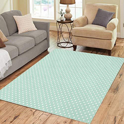 Pinbeam Area Rug Blue for Light Mint Polka Dots Pattern Green Home Decor Floor Rug 3' x 5' Carpet