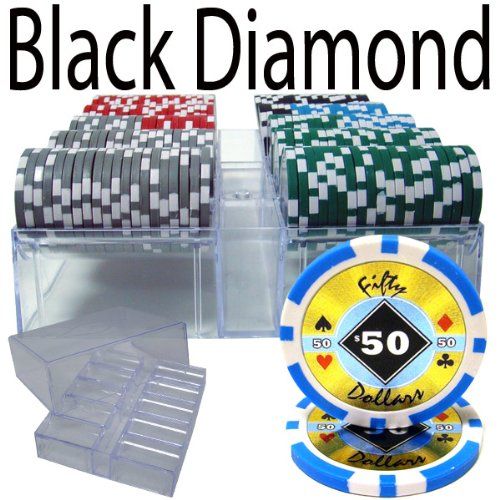 200 Ct Black Diamond 14 gram Poker Chip Set en bandeja de acrílico con tapa