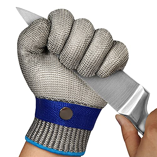 TAIROAD Cut Resistant Glove Level 9 Cutting Glove Stainless Steel Wire Mesh Metal Glove for Kitchen, Garden, Durable Cut Glove for Men or Women (Large)