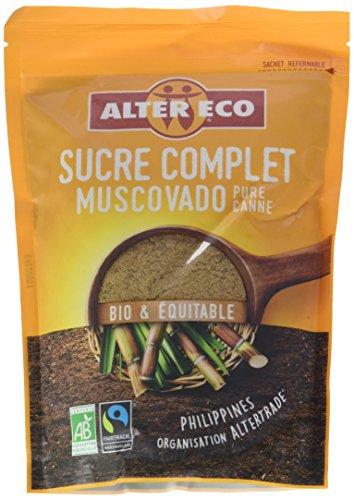 Alter Eco Sucre Complet pure canne Muscovado et Equitable Bio 500 g - Lot de 4
