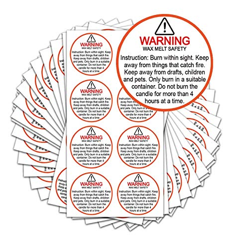 """Candle Warning Stickers, 1.5"""" Round Label,Sticker Decal for Candle Jars, Tins and Votives Candle Jar Container Labels Wax Melting Safety Stickers-504 Labels per Package"""