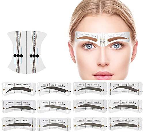 96Pcs Augenbrauen Schablone Augenbrauen Schablonen Set 12 Stile Augenbrauen Form Aufkleber Gestaltung Schablonen Berufsmakeup Augenbraue Zeichnung Karte mit 6 wiederverwendbaren Schablonen Werkzeugen
