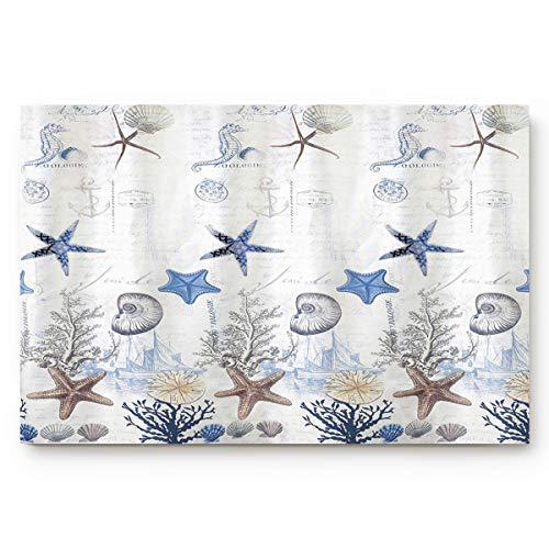 Vandarllin Coastal Nautical Starfish, Shells, and Coral Doormat Welcome Mats Rugs Carpet Outdoor/Indoor for Home/Office/Bedroom, 18'x30'