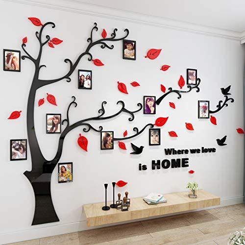 Asvert Vinilos Arbol Rojo Pegatinas de Pared 1.75 * 2.3 m Murales Pared 3D para Sala de Estar Dormitorio Decorativo Hogar