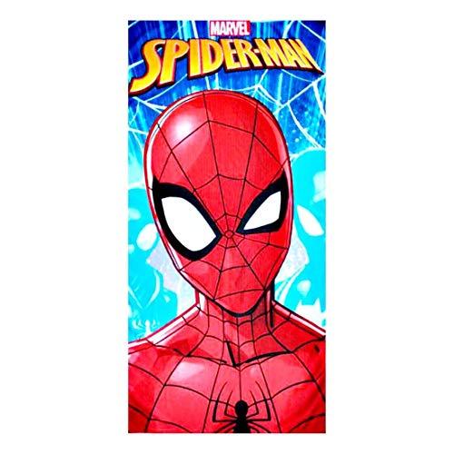 Rainbowfun.de Marvel Spiderman - Serviette de Bain ; 70 cm X 140 cm; Rouge, Bleu ; 100% Polyester