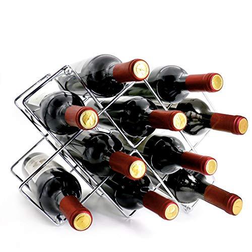 VESONNY Weinregal aus Metall für 10 Flaschen, moderne Weinregale für die Arbeitsplatte, Weinflaschenhalter, Weinhalter, Tisch-Weinregal, Silber