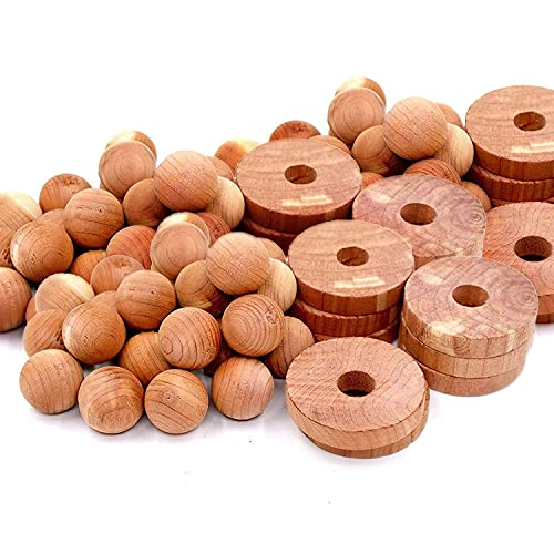GNCNSHK Protección contra polillas para almacenamiento de ropa, ambientadores de armario, bolas de cedro y anillos de cedro, 30 anillos de cedro y 10 bolas de cedro