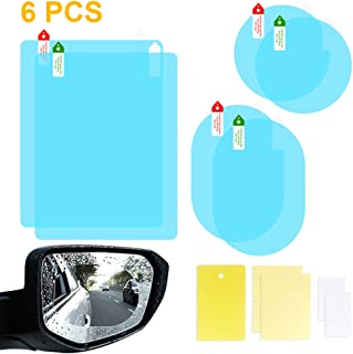6 PCS 3 Size Car Rearview Mirror Protective Film, HD Clear Rainproof Film Anti Glare Anti Fog Waterproof Film for Car Mirrors and Side Windows