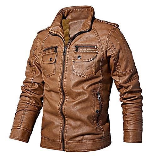 BDVGYXL Herrenjacken Männer Herbst Winter Pu Jacke Mode Einfarbig Slim Fits Lederjacken Männlichen Mantel Lässig Marke Kleidung XXXL Hellbraun
