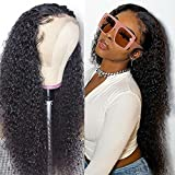 Curly Lace Front Wigs For Black Women Kinky Curly Human Hair Lace Front Wig 13x4 Brazilian Deep Curly Wigs Supernova Hair (18inch, 13'x4' Wig)
