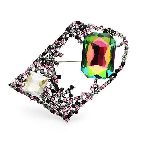 Broches de flores geométricas de cristal grande para mujeres broches casuales de bodas con diamantes de imitación de flores
