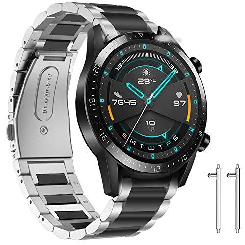 Diruite für Huawei Watch GT 2 (46 mm)/GT 2e/GT Armband Uhrenarmband,22mm Galvanisieren Edelstahl Metall Mit Doppelt Faltschließe für Huawei Watch GT Ersatzarmbänder-Mix