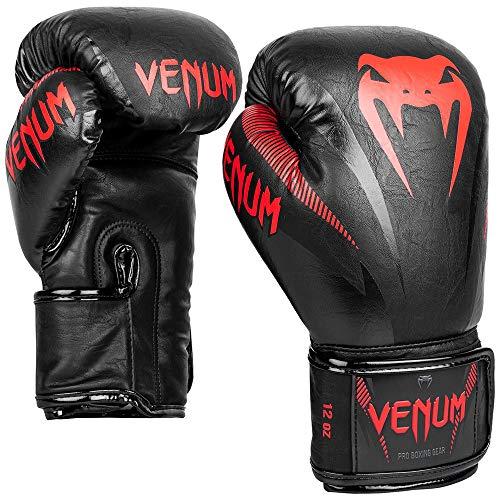Venum Unisex– Erwachsene Impact Boxhandschuhe, Schwarz/Rot, 14 oz