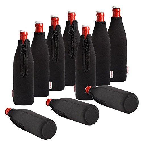 Rafraîchisseur de bouteille en néoprène, Seau à Vin, Rafraîchisseur de boissons, Dress-your-drink 10er Sparpaket 0.5 Liter noir