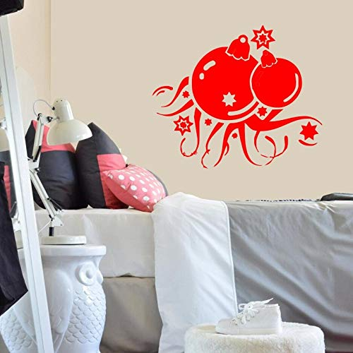 Geiqianjiumai Weihnachtsdekoration Wandaufkleber Abnehmbare Vinylwandkunst Wandaufkleber Rot 53x44cm