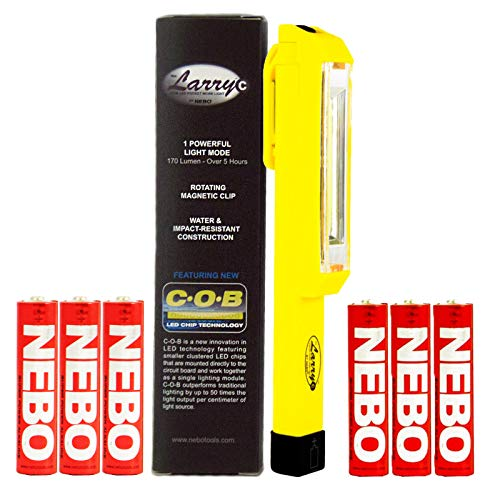 NEBO Larry C YELLOW 170 Lumens C-O-B LED Work light Flashlight 6353 w/ 6 Nebo AAA Batteries