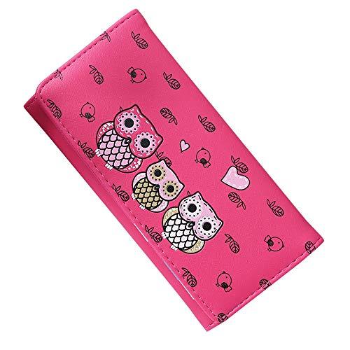 Cartera - Monedero - Mujer - niña - Estampado - búhos - de Color - Color Rosa Oscuro