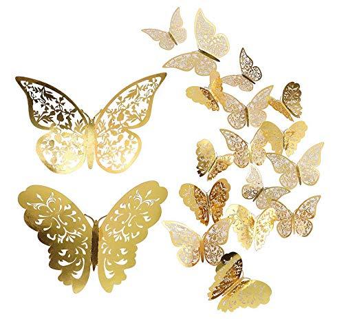 Schmetterling Wandaufkleber, 48 Stücke 3D Schmetterlinge Sticker für Wanddeko Metall Dekoration DIY Wandkunst Aufkleber Schlafzimmer Baby Dekor Abziehbilder Abnehmbare Dekorative Papier Wandbilder