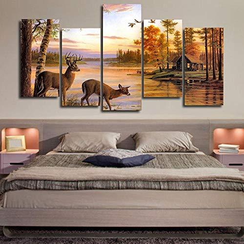 Modulaire schilderij canvas muurkunst afbeelding decor 5 stuks dier antilope drinken water HD gedrukt zonsondergang blokhut landschap poster 12×16/24/32inch Met frame.