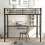 Harper & Bright Designs Full Loft Bed with Desk , Metal Heavy Duty Loft Bed Frame with Shelf, Full Size Loft Bed for Kids/Teens, No Box Spring Needed (Black, Full Loft)