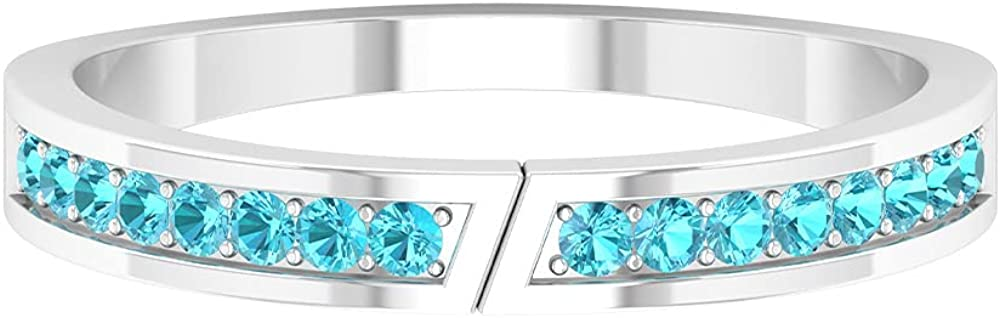 0.25 CT Swiss Blue Topaz Stackable Ring in Prong setting (AAA Quality),14K White Gold,Swiss Blue Topaz,Size:US 11.00
