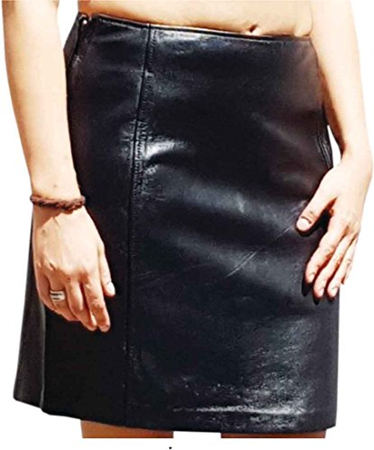 Fuente Leather Wears Falda corta de piel de napa de cordero para mujer, color negro Negro XS (Ropa)