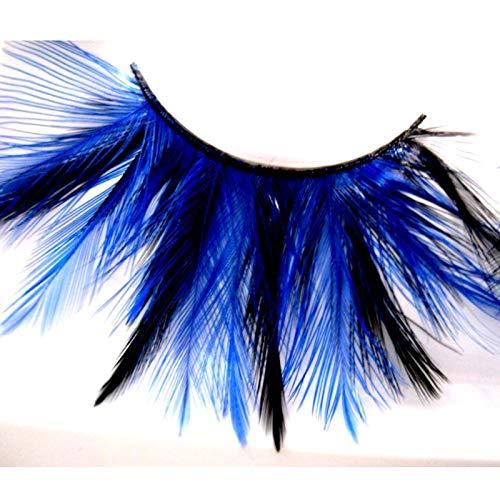Faux cils Dames Noir Et Bleu Royal Plumes Burlesque Accessoire De Déguisement Artistique Exagéré