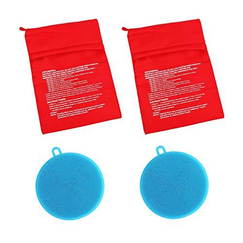 Roucerlin - Borsa riutilizzabile per patate a microonde, lavabile, per cottura di mais al forno, in silicone, per lavapavimenti a doppio lato, per frutta (2 confezioni ciascuno, blu)