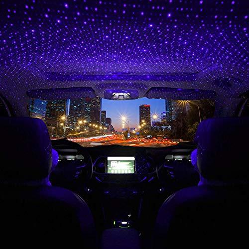 HOTEU Cool Auto Und Heimdeckenprojektor Atmosphäre Sternenhimmel Lampe Romantischer USB Nachtatmosphären Dekorationslicht lila LED Projektor