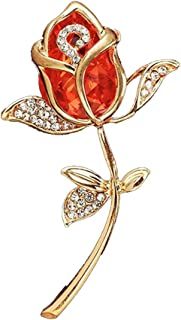 Elegant Shining Crystal Rose Flower Brooch Pins, Fancy Beauty Floral Design Brooch Pins for Women Lady Bridal Wedding Corsage Bouquet Jewelry Christmas/Valentine's Gifts