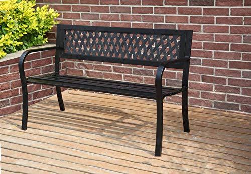 BIRCHTREE 3 Seater Garden Bench Slat Steel Lattice Style Park Patio Outdoor Furniture Seat Chair Metal C072 Black