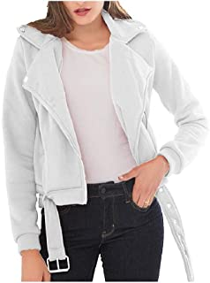neveraway Women Mini Turn Down Collar Fall Winter Zip-Up Long-Sleeve Pea Coat