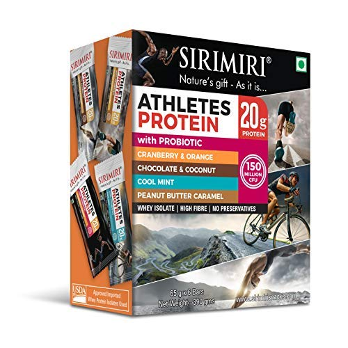 PROBIOTIC Athletes 20g Protein Bar - Assorted Pack of 6 (Each 65gm) (First Probiotic Protein Bar in India)