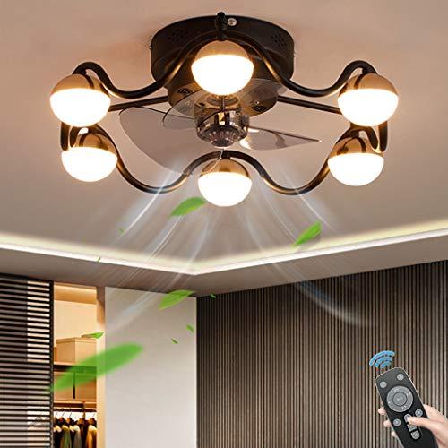 Moderne Deckenventilator Mit Beleuchtung LED, 36W Dimmbar Deckenleuchte Mit Fernbedienung, Unsichtbar Ruhig, Einstellbare Windgeschwindigkeit, Für Wohnzimmer Schlafzimmer (Ø50CM),Braun